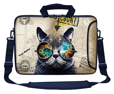 Cat Design 14 Inch Laptop Bag with Side Pocket, Hydrophobic