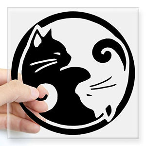 Yin-Yang-Cats Square Sticker, Round