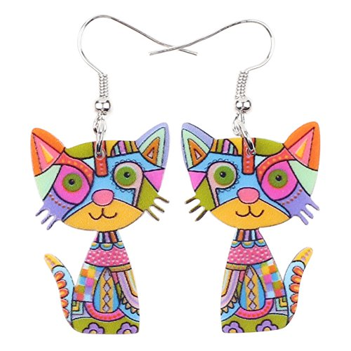Cute Colorful Cat Animal Theme Earrings, 3.5 g