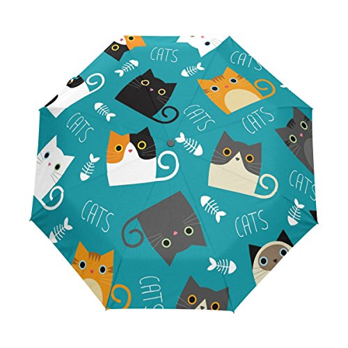 Cat with Fishes 3 Folds Auto Open Close Umbrella, 10.33 oz