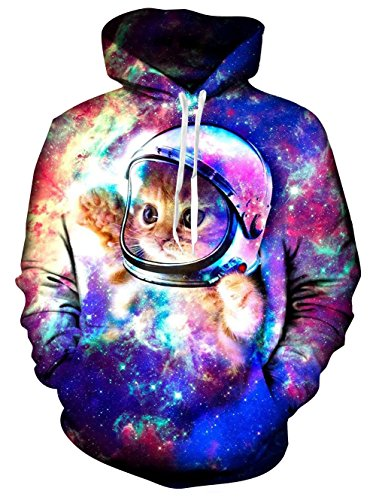 Galaxy Space Astronaut Cat Printed Pullover