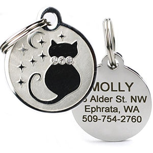 Stainless Steel Cat ID Tag Swarovski Crystals on the Front