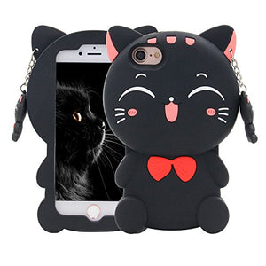 3D Lucky Cat with Red Bow Tie Phone Case Cover for iPhone 7