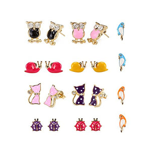 Gold Plated Colorful Cute Cat and Animals Earrings