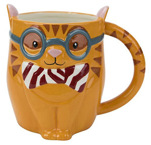 Boston Warehouse - Smarty Cat with Glasses Design Mug