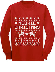Comfy Meowie Christmas Ugly Sweater with Cute Kittens, Red
