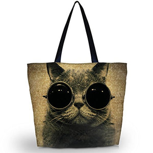 Zippered Shoulder Shopping Tote Bag by NewPlenty (Cool Cat)