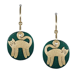 Brass Dark Green Standing Cat Earrings, About 1 1/8 inches long