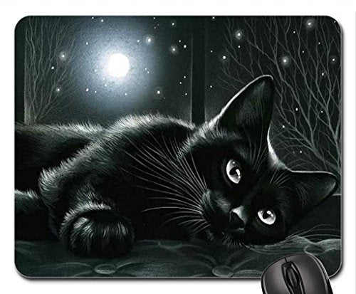 Black Cat in Moonlight Mouse Pad, 8.5 x 7 x 0.3 in