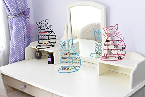 "Cat Shape Metal Wire Earring Holder Stand by Arad, 7""W x 10""H x 4""D"