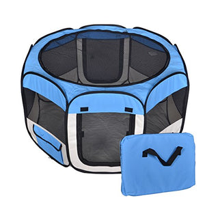 Blue Pet Tent Playpen with Free Carry Case