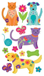 13 pieces of Colorful Cats and Dogs Stickers