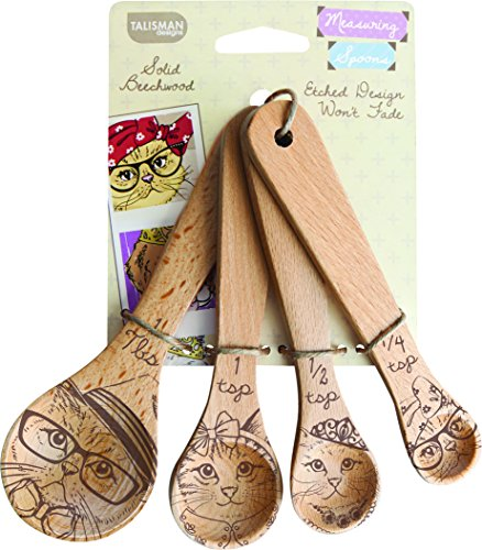 Solid Beechwood Measuring Wooden Spoons by Talisman for Cat Lovers