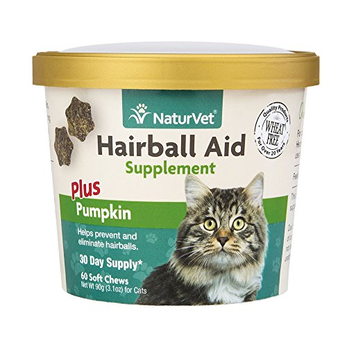 Hairball Aid Plus Pumpkin for Cats by NaturVet, 60 ct Soft Chews
