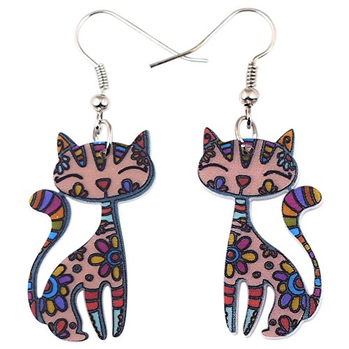 Acrylic Drop Multicolor Cat Earrings