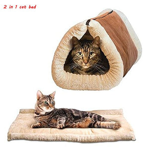 2 in 1 Tube Plush Cat Mat