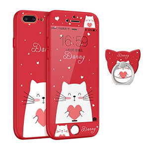Full Body Red Case for iPhone 7 / 8, Cat with Heart