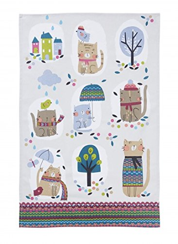 Cozy Cats in Fall Illustrated Kitchen Towel by Ulster Weavers