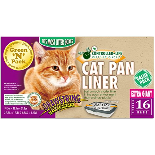 Extra Giant Drawstring Cat Pan Liner, Green N Pack, 36