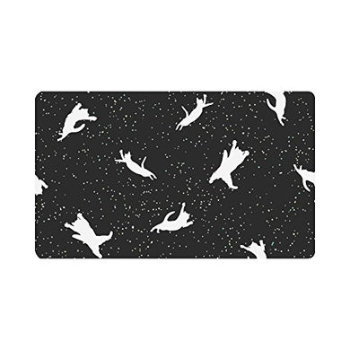 Flying Cats in Space Patterned Doormat, Black