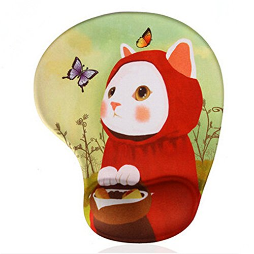 Silicone Flexible Mouse Pad with Gel Wrist Support, Cat with Red Hood