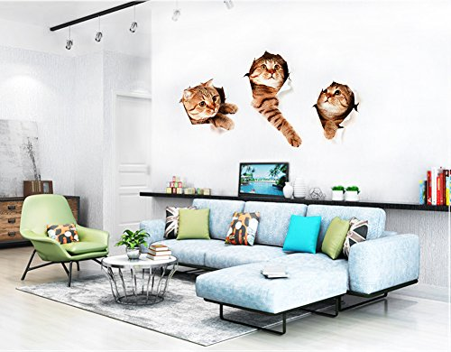 3D Wall Decals Stickers Vivid Decors Murals (Cat) for Room Home ...