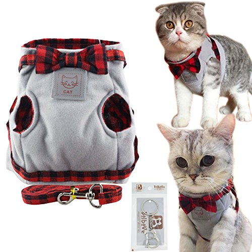 Bowtie Lovely Plaid Jacket Vest Harness & Leash Set for Cats (Medium, Grey)