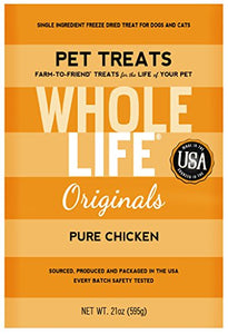 Single Ingredient Freeze Dried Chicken Breast Treats for Cats by Whole Life Pet