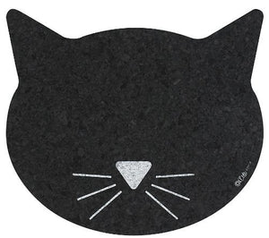 Recycled Rubber Cat Face Placemat, Black