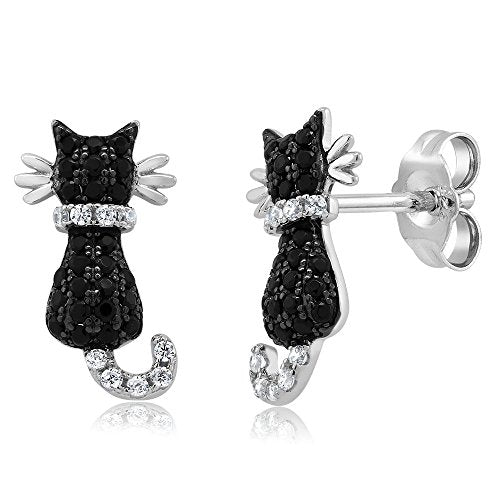 Adorable 0.54 Ctw 925 Sterling Silver Black Cat Earrings