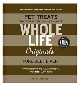 Whole Life Pet Pure Meat All Natural Freeze Dried Beef Liver Treats for Cats