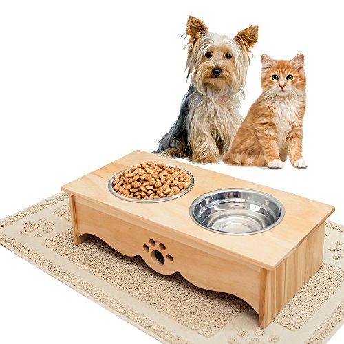 Elevated Feeder and Mat for Cats and Small Dogs