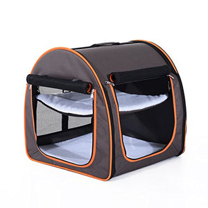 Dual Compartment Pet Carrier with Zippered Pockets