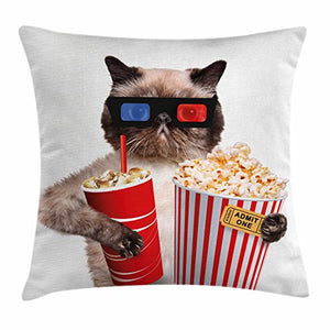 Cat with Popcorn Watching Movie Printed Pillow Case