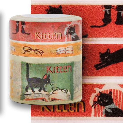 Cat Washi Masking Tape set with 3 tapes, Black Cats, Glasses, Books