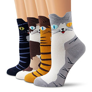 Women Cute Cat Patterned Colorful Cotton Socks by Ambielly (4 Cats)
