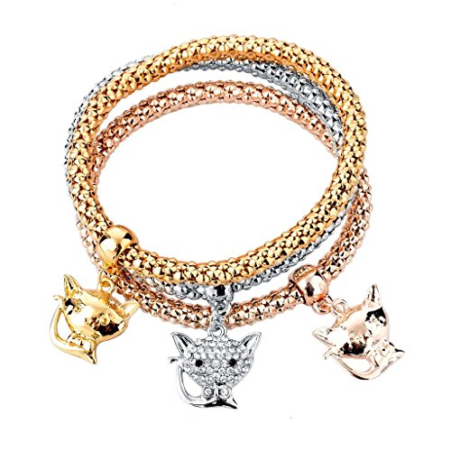 Long Way 3-Pcs Gold Silver Rose Gold Plated Chain Bracelet