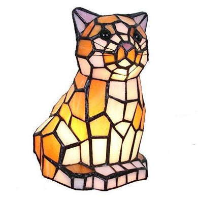 Tiffany Style Stained Glass Cat Lamp, 25 watts  Edit alt text