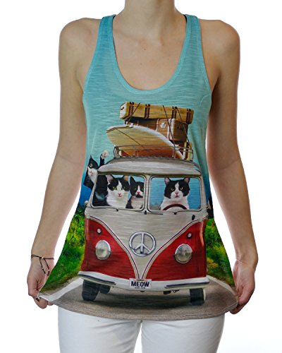 Beach Boy Cats in Volkswagen Van Graphic Tank Top