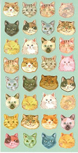 Colorful Different Style of Cats Sticker Set, 32 Cats