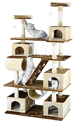 Brown/Beige Climber Cat Tree House with Swing