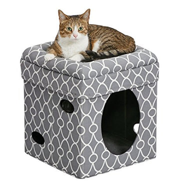 Neutral & stylish gray Cat Cube House