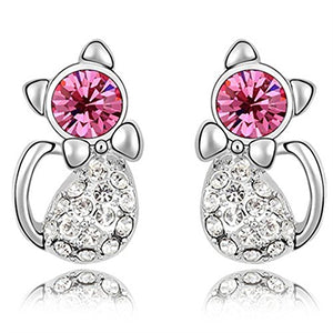 Cat Earrings with Bling Crystal Eye and Bownot