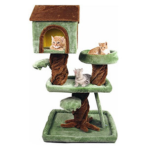 All-in-One Design Cat Tree Condo, Brown/Green