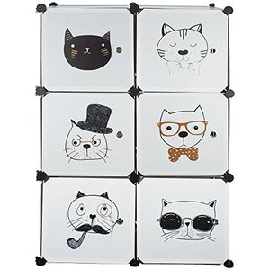 6 Cube Storage Closet Organizer with Cat Faces