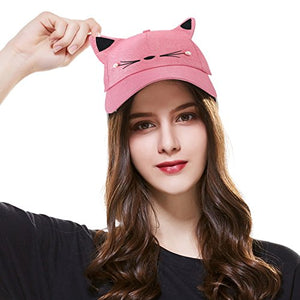 Women Cute Cat Adjustable Cap Hat, 23-25 in