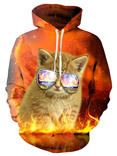 Fire Cat Print Hoodie Baggy Pullover