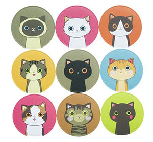 90 Adorable Kitty Cat Stickers, 9 Stickers per Sheet, Totally 10 sheets
