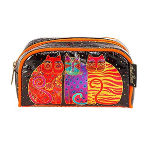 Laurel Burch Feline Friends Design Cosmetic Bag, Metallic Foil Fabric