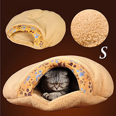 Cute Cat Bed Cave with Coral Fleece